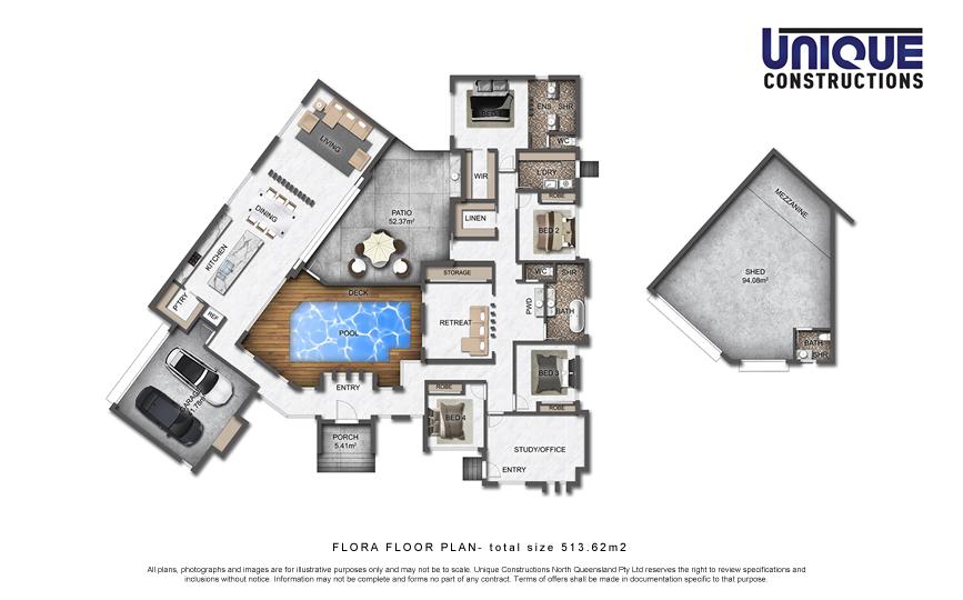 Flora Floorplan 4 bedroom house plan