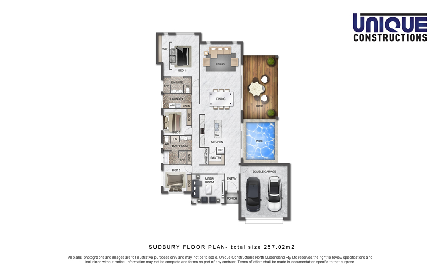 Sudbury Floorplan 3 bedroom media home Cairns