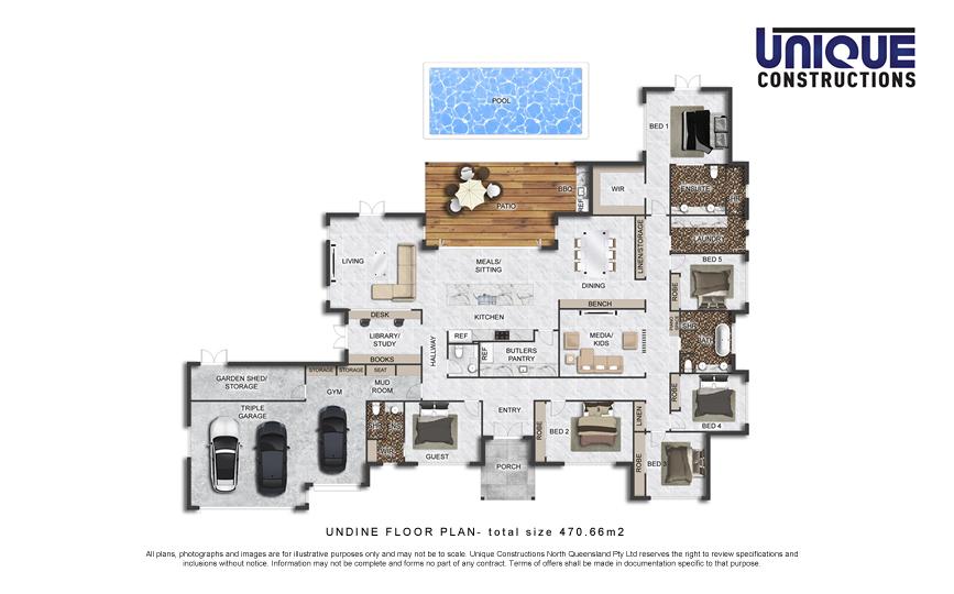 Undine floorplan - Cairns new home builder